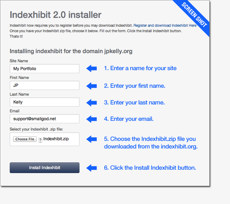 Indexhibit 2.0 automatic installer